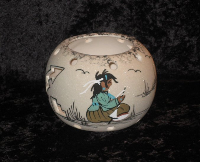 Thompson Signed Decorative Vase, Hand Painted, Native American Theme