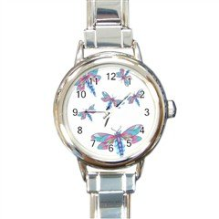 New round Italian Charm Watch Dragonflys