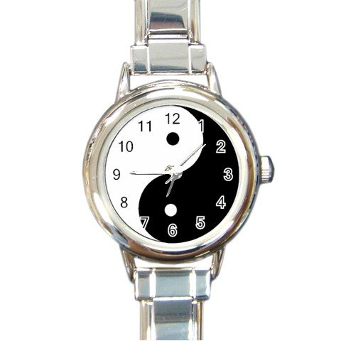 New round Italian Charm Watch Ying Yang