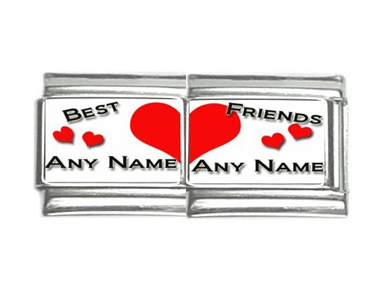 New 9mm photo Italian Charm 2 Set -- Best Friends Any Names