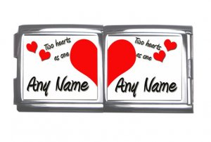 New 18mm Mega photo Italian Charm 2 Set -- My heart belongs to  Any Names