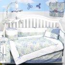 French Blue Toile Baby Infant Crib Nursery  Bedding 15pcs Set