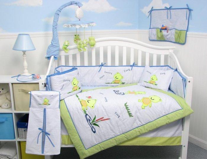 Dancing Frogs Baby Infant Crib Nursery Bedding Set 15pc