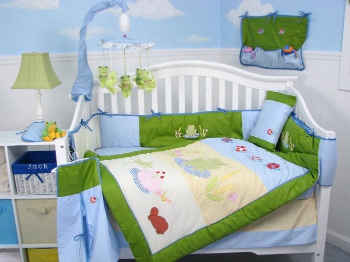 Froggies Pond Baby Infant Crib Nursery Bedding Set 15pc