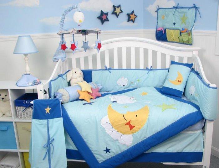 Twin Bunnies Baby Infant Crib Nursery Bedding Set 15pcs