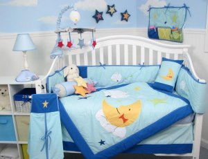 Twin Bunnies Baby Infant Crib Nursery Bedding Set 15pcs