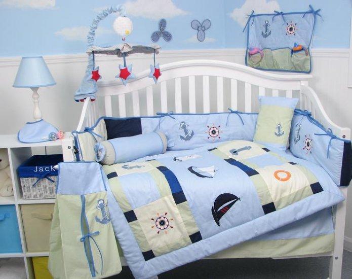 Baby Skipper Nautical Baby Infant Crib Nursery Bedding Set 15pc