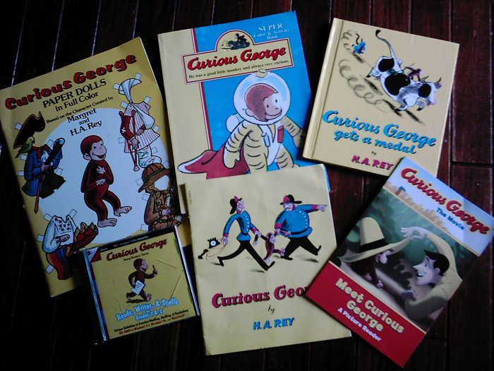 Curious George Paper Dolls Books Lot Reading Software