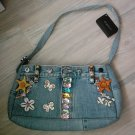 NEW Acesori Denim Jean Embellished Beaded Purse NWT