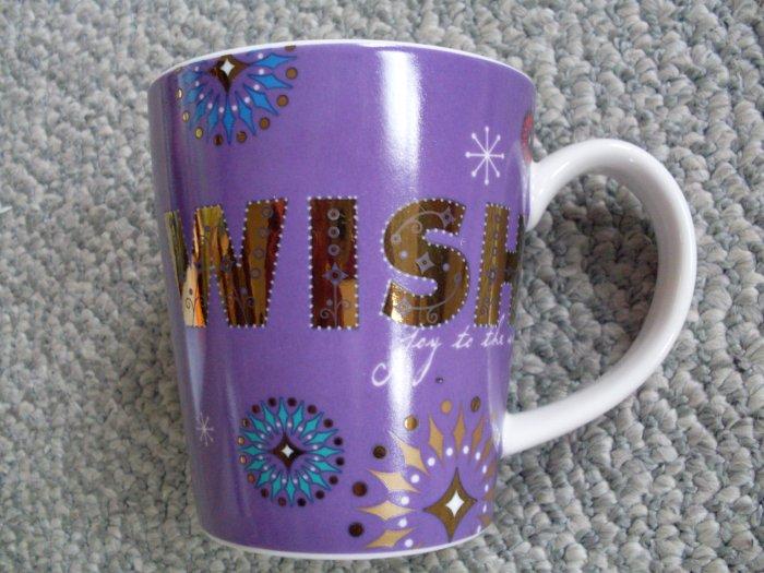 Starbucks Purple WISH Holiday 2006 Ceramic Mug Christmas