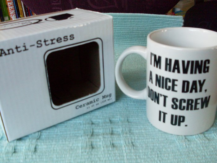 NEW A Nice Day Don't Screw It Up Ceramic Mug NIB THE OFFICE