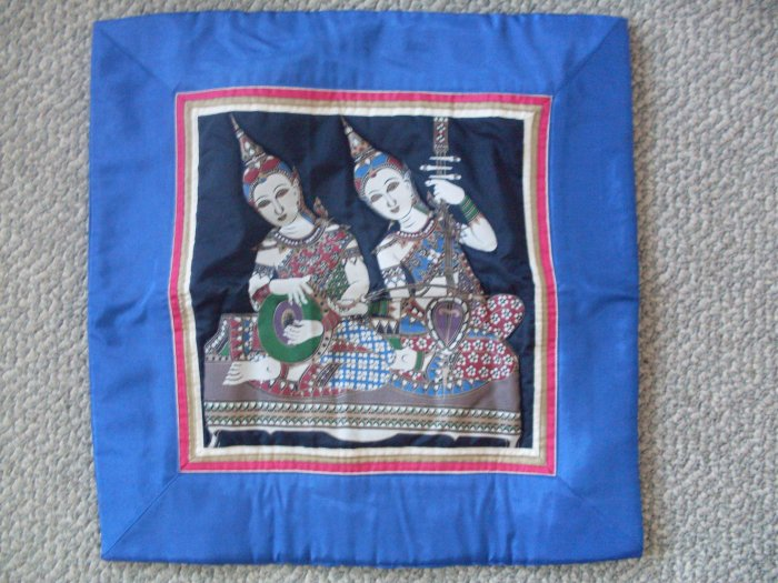 "NEW India Pillow Cover 16""x16"" blue border instruments"