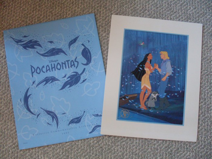 *SOLD* Disney Pocahontas Commemorative Lithograph 1995 Mint
