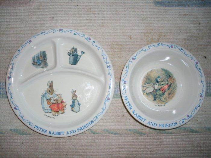 Peter Rabbit Kid's Plates Divided Dish & Bowl Beatrix Potter