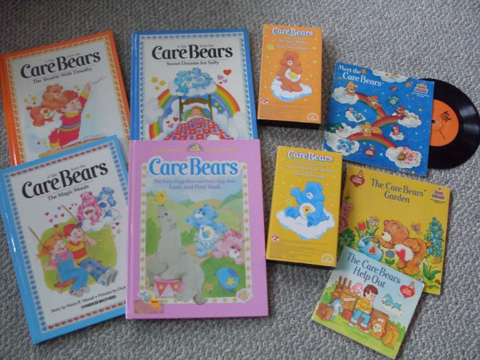 Lot Meet the Care Bears Books VHS Tapes Record HC & PB