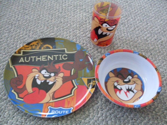 Looney Tunes Taz Kids Lunch Set Plate Cup & Bowl