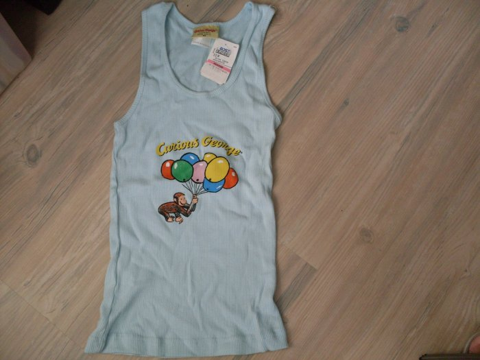 New Curious George Sleeveless Tank Pajama Top Jr M or S