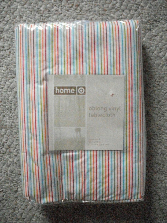 NEW Target Oblong Striped Vinyl Tablecloth 52x90 NIP