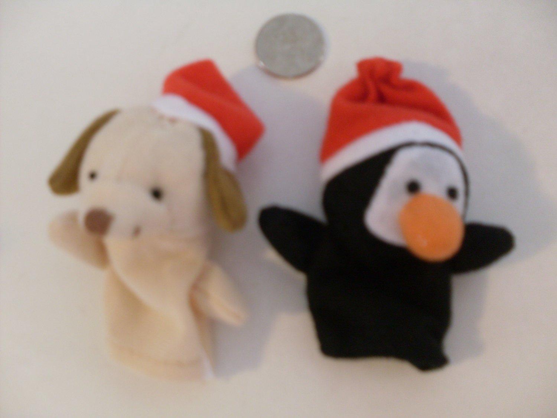 NEW Christmas Finger Puppets Plush Penguin & Dog