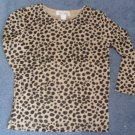 Bob Mackie Metallic Animal Print Long Sleeve Top Size Small