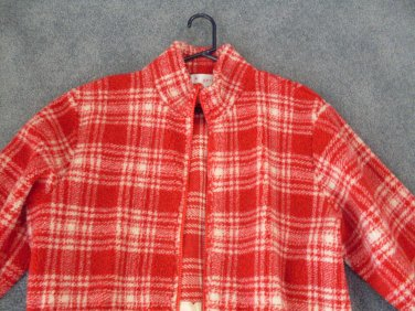 NEW Lord & Taylor Winter Belted Ladies Coat Jacket Small Red Plaid Fleece NWT