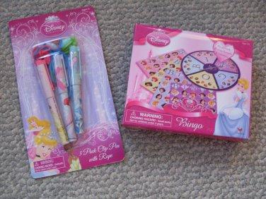 NEW Disney Princess Lot Pens & BINGO Game ages 3+