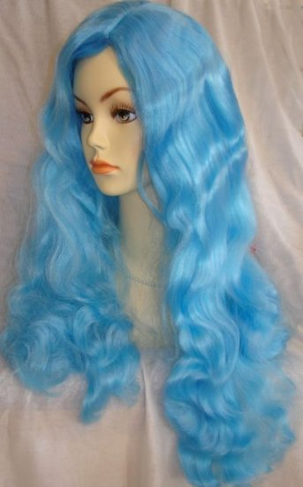 Long Wavy Ocean Blue Wig~Mermaid Costume