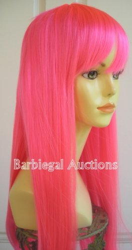 Long Neon Hot Pink Straight Wig w/ Bangs~Cosplay~Anime~Punk~Costume