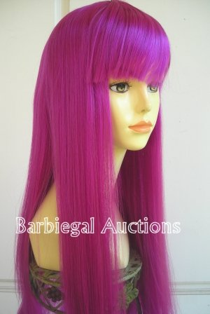 Long Magenta Purple Straight Wig w/ Bangs~Cosplay~Punk~Costume