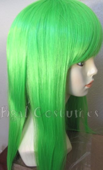 Long Grass Green Straight Wig w/ Bangs~Cosplay~Punk~Costume