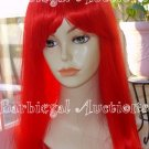 Long Cherry Red Straight Wig w/ Bangs~Cosplay~Punk~Costume