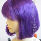 Short Dark Purple China Doll Wig w/ Bangs - Anime Cosplay Costume