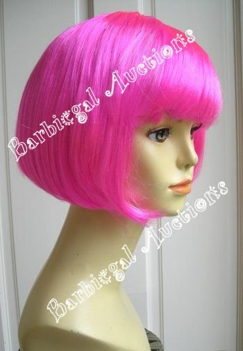 Short Hot Pink Bob Cut Wig - Anime Cosplay Costume