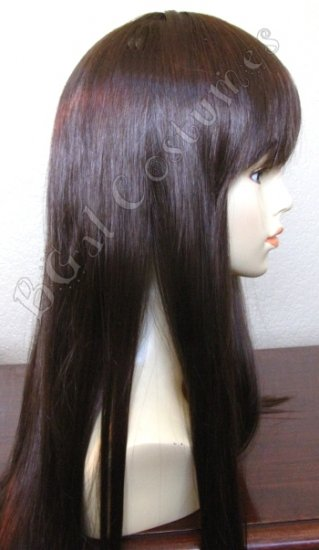 Long Dark Brown Wig with Bangs~Anime~Cosplay~Halloween Costume
