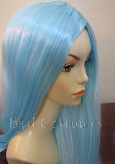 Long Light Aqua Blue Wig~No Bangs~Cosplay~Anime~Halloween Costume
