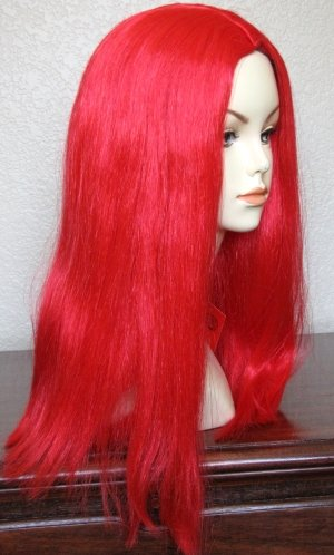 Long Cherry Red Little Mermaid Halloween Costume Wig~Adult or Child 10 & Up