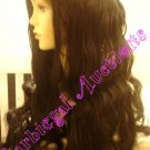 Long Black Hippy Halloween Costume Wig~Flower Child