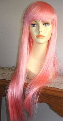 Long Light Pink Straight Wig w/ Bangs~Cosplay~Anime~Punk~Costume