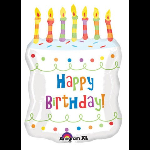GIANT HAPPY BIRTHDAY CAKE MYLAR PARTY BALLOON~CANDLES