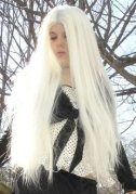 "30"" LONG PLATINUM WHITE WIG~COSPLAY ANIME~WIGS~NO BANGS~HALLOWEEN COSTUME"
