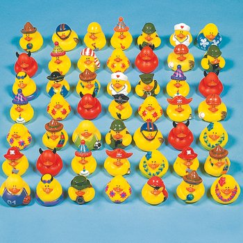 "Lot of 50 Assorted 2"" Rubber Duckys~Ducks~Duckies~Baby Shower or Birthday Party Favors"