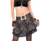 ADULT SEXY FUNKY GOTH WITCH HALLOWEEN COSTUME~HAT SKIRT CROP TOP BELT~WOMENS SIZE 6-8 SMALL~TEEN