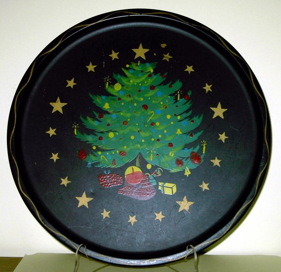 Vintage Christmas Tree Tray tin or aluminum
