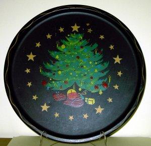 Vintage Christmas Tree Tray tin or aluminum