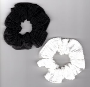 Set of 2 Cotton Scrunchies Black & White Ponytail holder