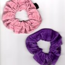 Set of 2 Suede Scrunchies Ponytail holder Purple & Pink