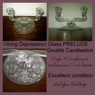 Elegant Depression Glass candle holder Candlestick PRELUDE Viking Crystal etched