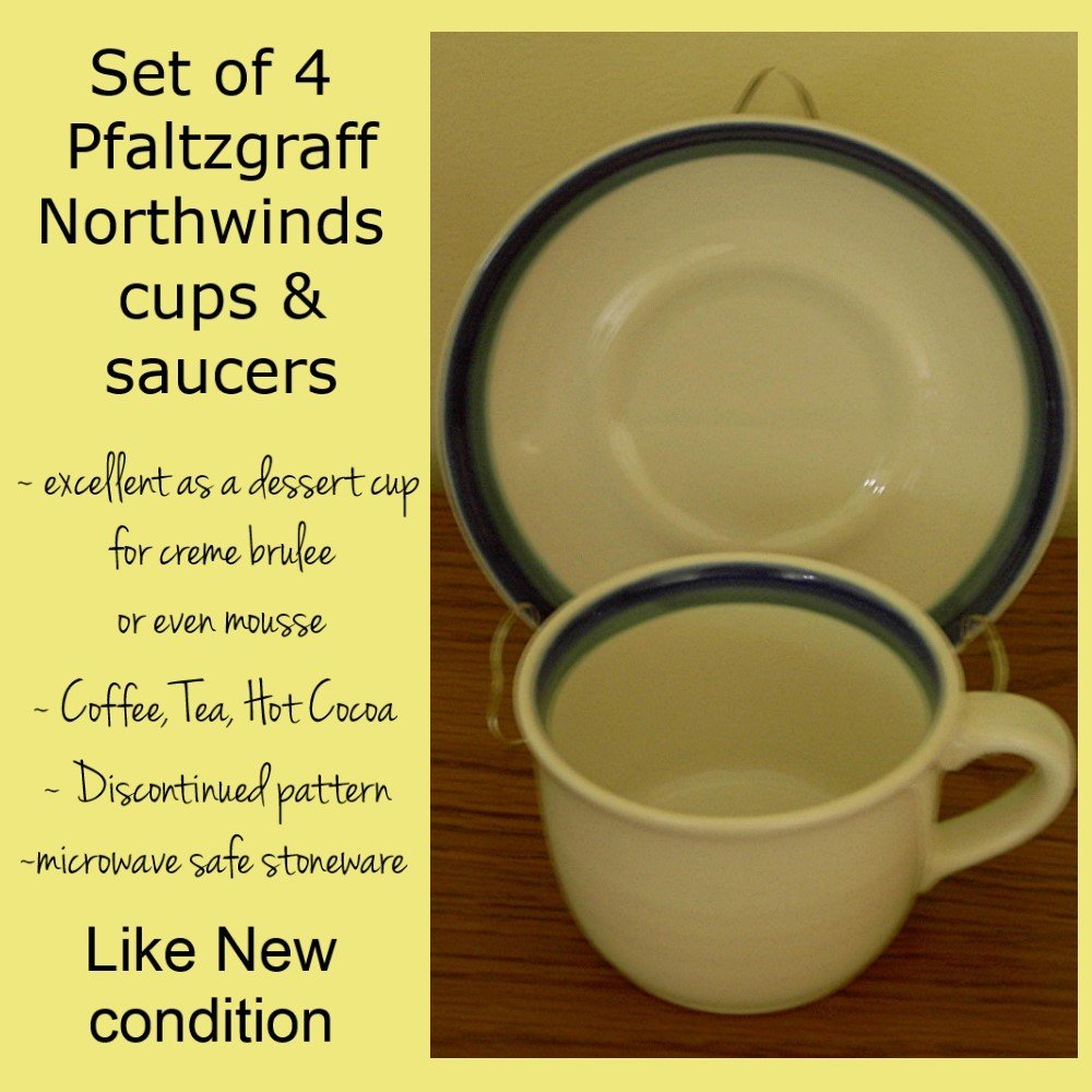 Northwinds Pfaltzgraff Cup & Saucer set of 4
