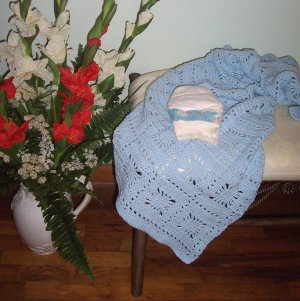Baby Boy Blue Crib Sized Afghan Blanket