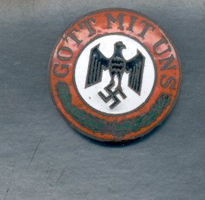 Genuine Enamel Nazi God With Us Badge screw back Hitler Gott Mit Uns